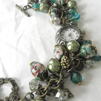 Shades of Green Handmade Charm Watch Bracelet. A Timepiece Antique Brass Plated  Bracelet for Her