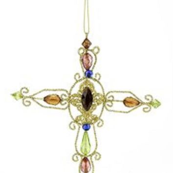 """7"""" Victorian Inspirations Oval Center Wire Cross Christmas Ornament"""