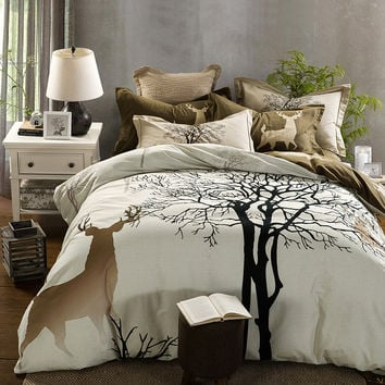 4/5 pcs comforter set tree and anime bed sheets bedspread coverlet queen king duvet cover pillowcase comforter cotton