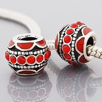 European charm metal bead red enamel and red stones