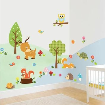 % 3d Cartoom Forest animals Wall Art Stickers owls deer flower tree Decals Safari Adventure Baby kids Nursery Wall decoration