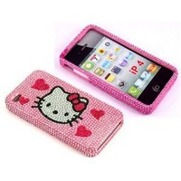 Smile Case Hello Kitty Pink Hearts Rhinestone Crysal Jeweled Snap on Full Cover Case for AT&T Verizon iPhone 4 4G (4-Four Hearts)