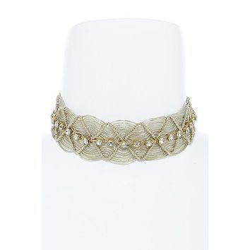 Metallic Crochet Thread Choker Necklace