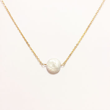 Elisa Pearl Gold Plated Necklace