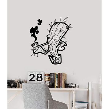 Vinyl Wall Decal Smoking Cactus Hippie Weed Room Art Interior Stickers Mural (ig5721)