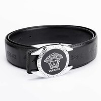 Versace Fashion New Letter Human Head Leather Women Men Belt Width 3CM Silver