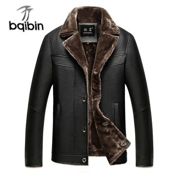 Classic Leather Fleece Jacket Winter Warm For Men Casual Male Thick Fur Collar Brown Coat New Brand Overcoat Parka Men