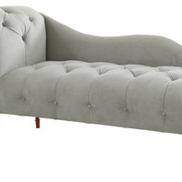 Tufted Upholstered Chaise Lounge, Velvet Light Gray - traditional - chairs - by Meijer