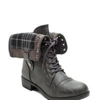 Holly 7 Plaid Lined Cuff Down Combat Boot
