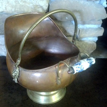 Rustic Copper Fireplace Deco -Vintage Copper Planter- Coal Scutle, Ash Bucket - Shabby, Cottage, Country, French Decor