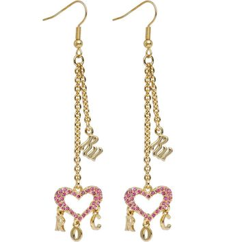 ROCAWEAR Pink Austrian Crystal RW HEART CHARM Earrings