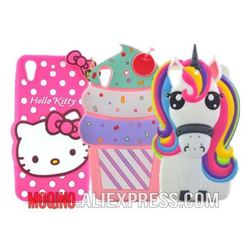 For HTC Desire 626 626w 626D 626G 626S Cartoon Hello Kitty Unicorn Ice cream Pig Silicone Phone Cases Covers