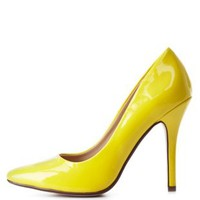 Yellow Pointed Toe Stiletto Pumps by Charlotte Russe