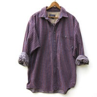 90s Patagonia Plaid Shirt ORGANIC Cotton Button Up Men's Shirt Preppy Boyfriend Tomboy Prep Shirt Boho Purple Shirt Mens Medium