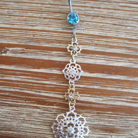 Belly Button Ring - Body Jewelry - Dangling Gold and Silver Metal Flowers with Light Blue Gem Stone Belly Button Ring