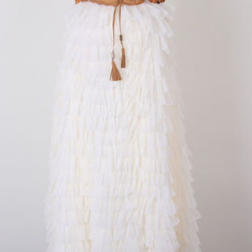 Swan Cloud Maxi Skirt White