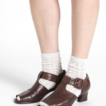 Vintage 70s Brown Leather Peep Toe T-Strap Chunky Heel Shoes | 8.5