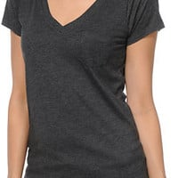 Zine Girls Relaxed V-Neck Heather Black Tee Shirt at Zumiez : PDP