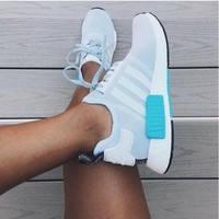 """""""ADIDAS"""" Women Running Sport Casual NMD Shoes Sneakers Blue-White"""