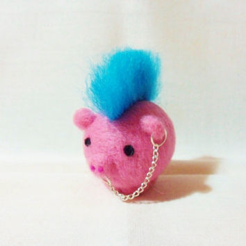 Needle Felted Pig -  miniature punk pig figure - 100% merino wool - wool felt pig - punk pig