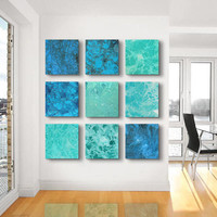 Large Abstract Painting, ORIGINAL 9 square Abstract painting ,Sea and Ocean, - Green, Blue, Sea green, Gray, white,sea foam, Jade