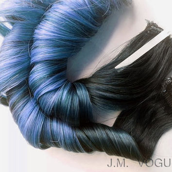 """18"""" #1b Baby Powder Blue Balayage Clip in Ombre extensions 100% human hair Pastel Dip Dye"""