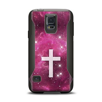The Vector White Cross v2 over Glowing Pink Nebula Samsung Galaxy S5 Otterbox Commuter Case Skin Set