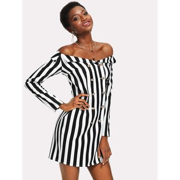 Foldover Off Shoulder Double Breasted Striped Dress