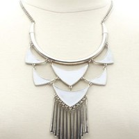 Geometric Fringe Bib Necklace by Charlotte Russe - Silver