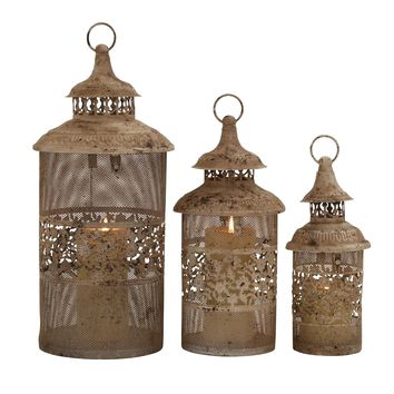 Antique Styled Classy Metal Candle Lantern -Benzara