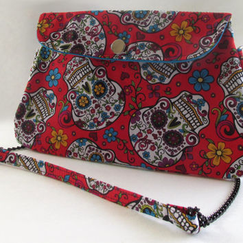 Sugar Skulls Clutch Purse with Chain Strap / Day of the Dead / Dia De Los Muertos