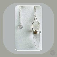 """Master Healer"" Clear Quartz Teardrop & Crystal Ball Pendulum"