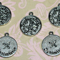2 Pcs Antique Silver Sagittarius Charms Pendants Zodiac Charms 19mm Round Handmade Bracelets Necklaces Jewelry - Ships Fast From California