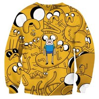 Adventure Time Jake and Finn All Over Print Crew Neck Pullover Sweater in Yellow | DOTOLY
