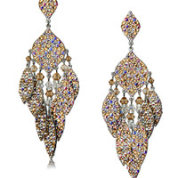 GIULIA Crystal Chandelier Earrings in Nude
