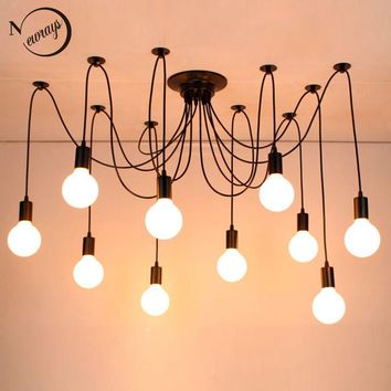 Modern big Spider Industrial black vintage pendant Lamp Loft led 14 Lights E27 pendant lights for living room restaurants bar