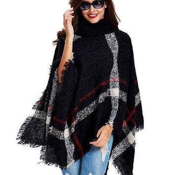11th,Nov Plus Size Women's Wool Plaid Cardigan Turtleneck Cape Batwing Sleeve Knit Poncho Sweater