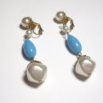 Vintage Pearl Dangle Earrings Clip on pearl blue bead earrings retro style