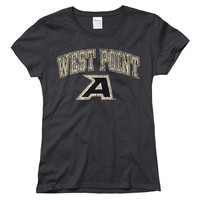 Women's New Agenda Heathered Black Army Black Knights Big Arch & Logo Ring Spun T-Shirt