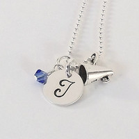 Hand Stamped Sterling Silver Cheerleader, Cheer Initial Charm Necklace with Sterling Silver Megaphone Charm and Swarovski Crystal Birthstone