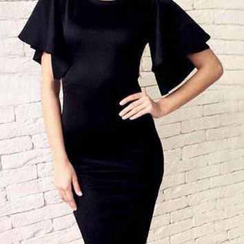 Knee Length Sheath Dress - Belled Sleeves