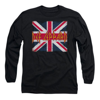 Def Leppard Men's  Union Jack  Long Sleeve Black Rockabilia