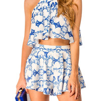 Azure And White Print Crop Top Set