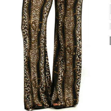 Plus Size Animal Print Palazzo Pants