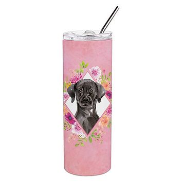 Black Labrador Pink Flowers Double Walled Stainless Steel 20 oz Skinny Tumbler CK4261TBL20