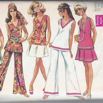 Simplicity 8187 Pattern for Misses Tunic, Skirt & Bell Bottom Pants, Size 12, From 1969