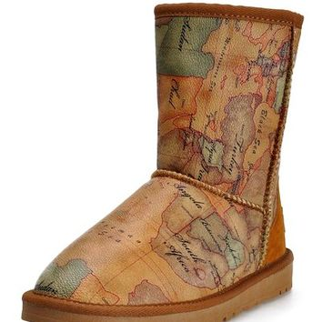 ZLYC Womens Girls Retro Style World Map Print Mid-Calf Winter Warm Snow Boots