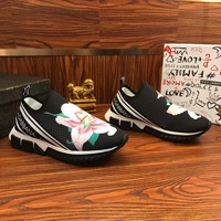 Dolce & Gabbana D&G Stretch Jersey Sorrento Sneakers With Lily Print Black - Best Online Sale