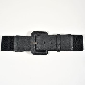 Unique Vintage Retro Style Black Elastic Buckle Belt