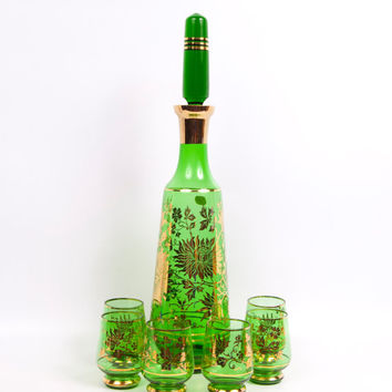 Bohemia Crystal Czech Decanter 6 Cordials Green and Gold Sunflower Design Czechoslovakia Glass Liquor Decanter Art Glass